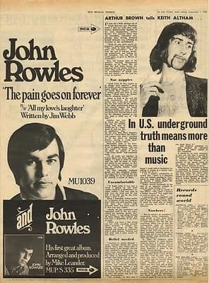 ARTHUR BROWN Interview Vintage Music Press article/cutting/clipping 1968