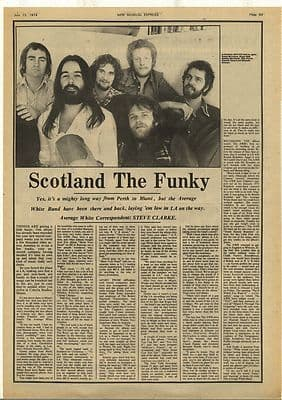AVERAGE WHITE BAND Scotland the funky Vintage Music Press Article/cutting/clipping 1974