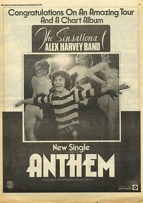 Alex Harvey Anthem single Poster size Original Vintage music Press advert cutting/clipping 1974