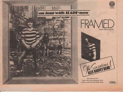 Alex Harvey Band Framed A4 Size LP 1973 vintage music press advert cutting/clipping