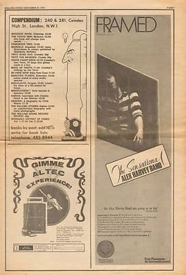Alex Harvey Framed LP Poster Size vintage music press advert cutting/clipping 1972