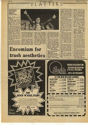 Alex Harvey Impossible Dream LP Review Vintage Music Press Article/cutting/clipping 1974