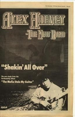 Alex Harvey Shakin all over Poster Size vintage music press advert cutting/clipping 1979