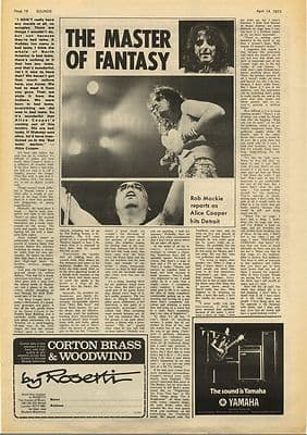 Alice Cooper Master of fantasy Vintage Music Press Article/cutting/clipping 1973