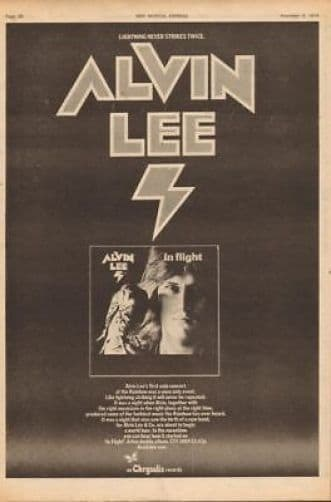 Alvin Lee In Flight 1974 Poster Size Advert Music press vintage cutting/clipping