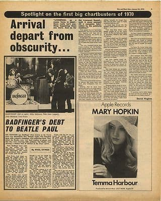 BADFINGER ARRIVAL MARY HOPKIN Vintage Music Press Article/cutting/clipping 1970