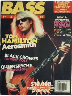 Bass Player Magazine March 1995 om Hamilton of Aerosmith, Johnny Colt of Black Crowes