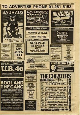 BAUHAUS Buzzcocks SIMPLE MINDS SKIDS RUTS UB40 Gig guide cutting/clipping 1980