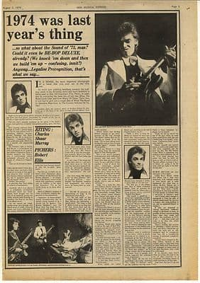 BE-BOP DELUXE Bill Nelson Vintage Music Press Article/cutting/clipping 1974