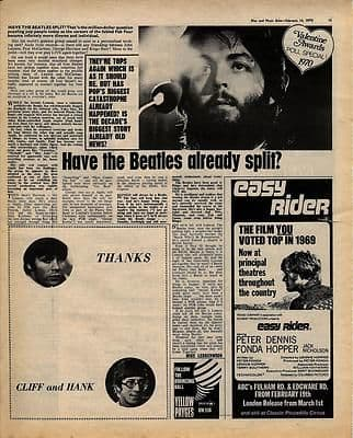 BEATLES Have they really split? Music Press article/cutting/clipping 1970