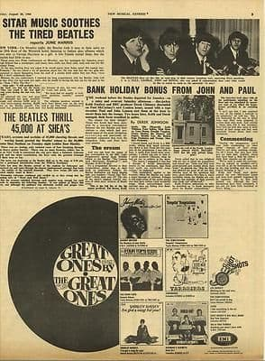 BEATLES Vintage Music Press article/cutting/clipping 1966