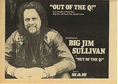 BIG JIM SULLIVAN Out of the Q  Vintage music Press advert cutting/clipping 1973