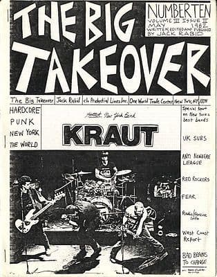 Big Takeover Magazine/Fanzine Issue No 10 Kraut UK Subs Fear Anti Nowhere League Bad Brains Punk
