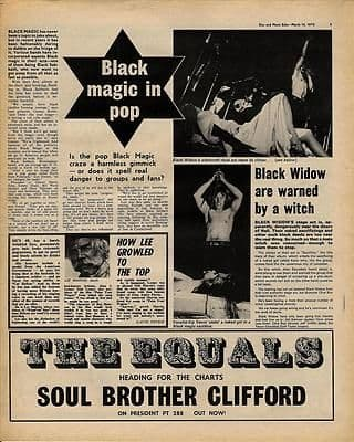 BLACK WIDOW Warned by a witch KENNY EVERETT Music Press article/cutting/clipping 1970