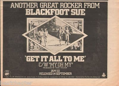 Blackfoot Sue Get it all to me A4 Size 1973 vintage music press advert cutting/clipping