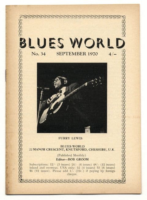 Blues World Magazine No 34 September 1970 Smith Casey Negro Art Label Red Indian Blues Detroit