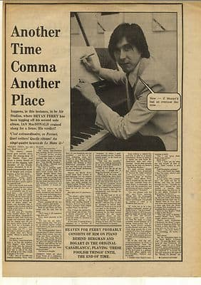 BRIAN FERRY Another time Vintage Music Press Interview Article/cutting/clipping 1974