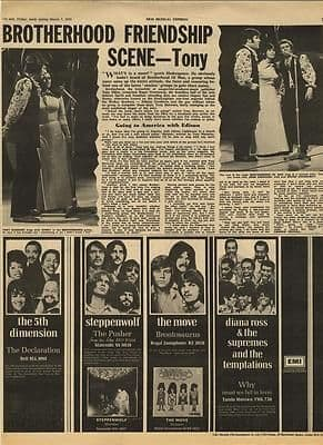 BROTHERHOOD OF MAN Vintage Music Press article/cutting/clipping 1970