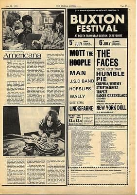 BUXTON FESTIVAL advert LAURA NYRO Vintage Music Press article/cutting/clipping 1974
