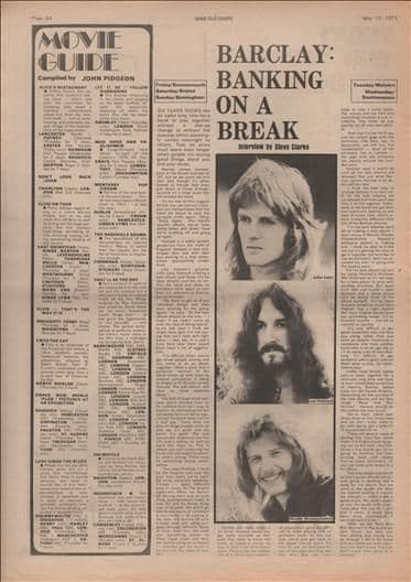 Barclay James Harvest Banking on a break Music Press Article/cutting/clipping 1973