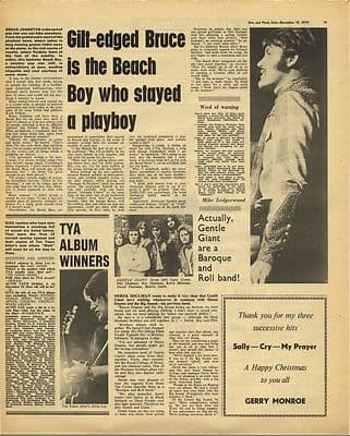 Beach Boys Bruce Johnston Interview Vintage Music Press Article/cutting/clipping 1970