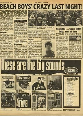 Beach Boys Crazy last night Vintage Music Press article cutting/clipping 1966