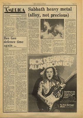 Black Sabbath Bee Gees Vintage Music Press Article/cutting/clipping 1974