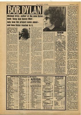 Bob Dylan Michael Gray Book Review Vintage Music Press Article/cutting/clipping 1972