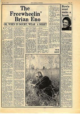 Brian Eno Freewheelin Interview Vintage Music Press article/cutting/clipping 1974