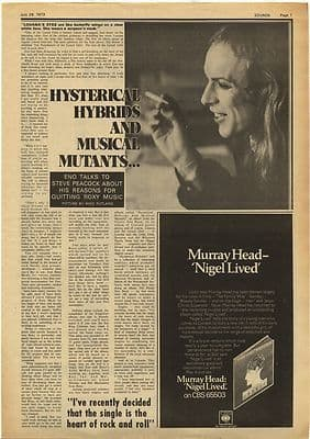 Brian Eno Hysterical Hybrids Interview Vintage Music Press Article/cutting/clipping 1973