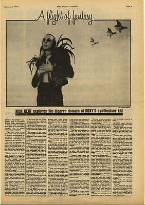 Brian Eno Interview with Nick Kent Vintage Music Press Article/cutting/clipping 1973