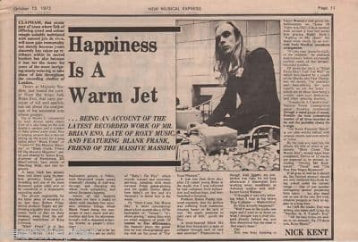 Brian Eno Warm Jet A4 Size original Vintage Music Press Article cutting/clipping 1973