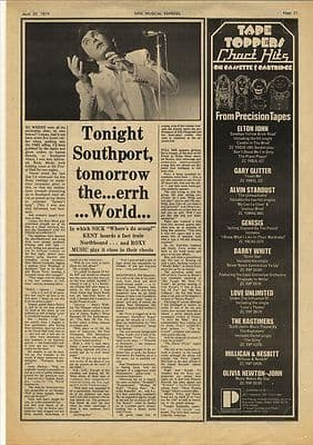Bryan Ferry Roxy Music Interview Vintage Music Press article/cutting/clipping 1974