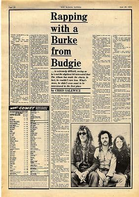 Budgie Burke Shelley Interview Vintage Music Press article/cutting/clipping 1974
