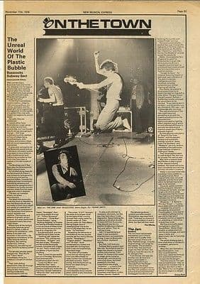 Buzzcocks SUBWAY SECT Jam Live Reviews article press cutting/clipping 1978