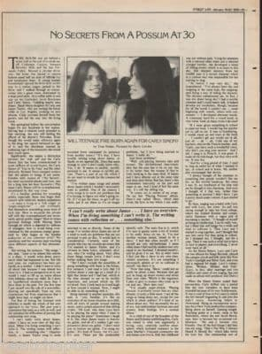 CARLY SIMON No secrets 1976 Interview 2 page Article cutting/clipping