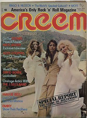 Creem Magazine August 1974 Alice Cooper Rolling Stones Mick Jagger Fanny Mott Hoople Maggie Bell