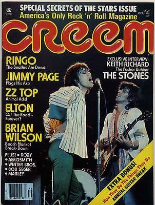 Creem Magazine October 1976 Rolling Stones Keith Richard Jimmy Page Elton John Brian Wilson