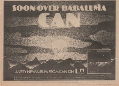 Can Soon over babaluma A4 Size LP vintage music press advert cutting/clipping 1974