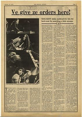 Can Ve give ze orders Vintage Krautrock Music Press Article/cutting/clipping 1974
