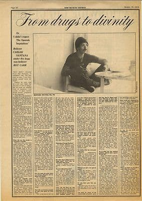 Carlos Santana Interview Vintage Music Press article/cutting/clipping 1974