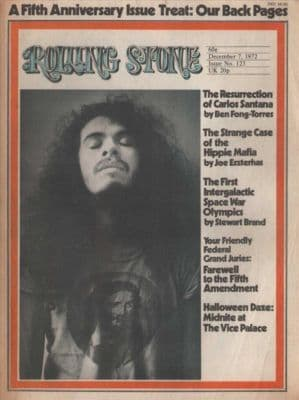 Carlos Santana Poster size A4 Size Rolling Stone Cover 1972 cutting/clipping
