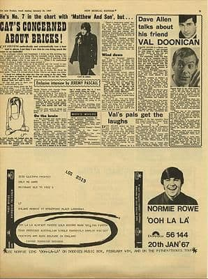 Cat Stevens Interview NORMIE ROWE Adver Vintage Music Press article/cutting/clipping 1967