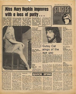 Cat Stevens MARY HOPKIN Vintage Music Press Article/cutting/clipping 1970