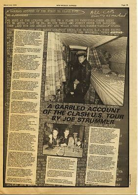 Clash Joe Strummer 1 page Interview Press article/cutting/clipping 1979