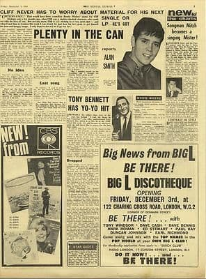 Cliff Richard TONY BENNETT Vintage Music Press article/cutting/clipping 1965