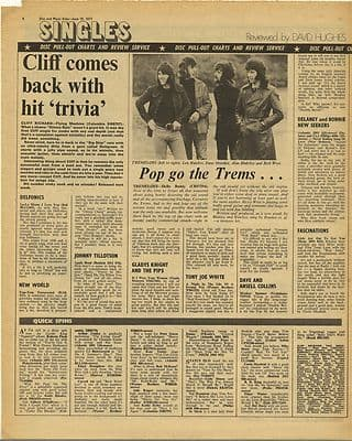 Cliff Richard TREMELOES Single Reviews Vintage Music Press Article/cutting/clipping 1971