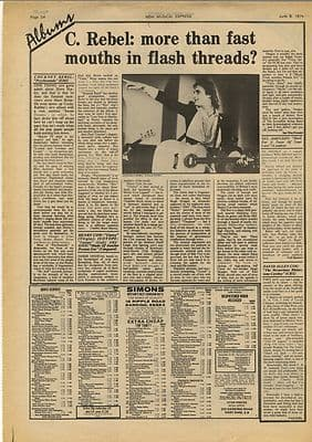 Cockney Rebel HENRY COW LP Reviews Vintage Music Press Article/cutting/clipping 1974