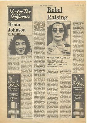 Cockney Rebel Raising Geordie influence Music Press article/cutting/clipping 1973