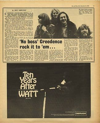 Creedence Clearwater Revival Ten Years After Vintage Music Press Article/cutting/clipping 1970